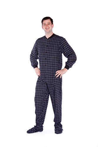 1b4c0eda459c Big Feet Pajama Co. Black   White Plaid Cotton Flannel Adult Footed Pyjamas  Onesie For Men   Women