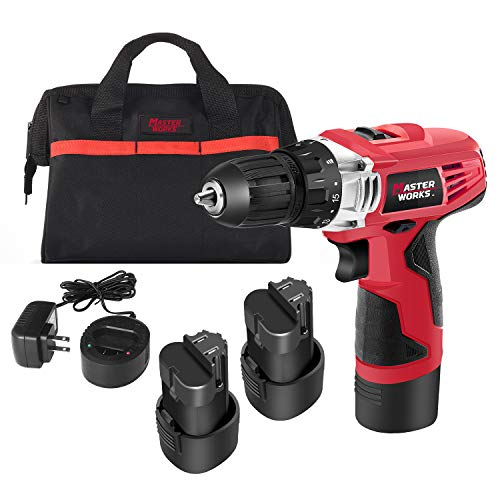 12V Cordless Drill, Power Drill Set with 2 PACKS of Battery, 3/8