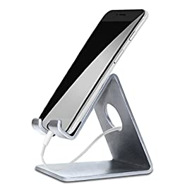 ELV Desktop Cell Phone Stand Tablet Stand, Aluminum Stand Holder for Mobile Phone (All Size) and Tablet (Up to 10.1 inch) – Silver