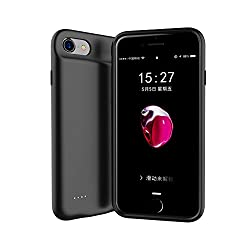 Iphone 8 Plus/7 Plus/6 Plus battery case Slim Rechargeable Protective Battery Bank Charging Case [Lightning Charging Port] and [Jack 3.5mm Port] iPhone 6/6s Plus (5.5 inch)-4000 mah (Black)