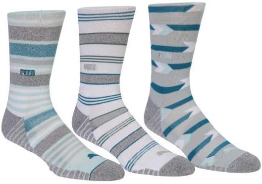 PUMA Golf 2021 Fusion Stripe Crew Sock 3 Pair Pack (Men's, Multi, 7-12)