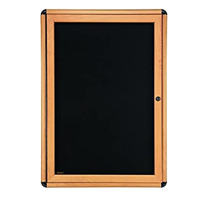 Image of Ghent 2 3/4' x 2' Ovation Fabric Bulletin Board, Maple Wood Look Finish/Black Corners (OVNMB1-F95) Bulletin Boards