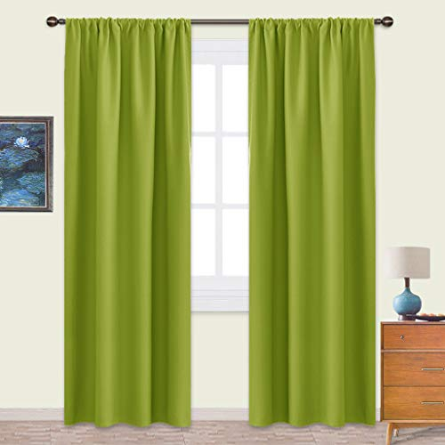 NICETOWN Blackout Curtains Panels for Living Room - Thermal Insulated Solid Rod Pocket Top Blackout Curtains/Drapes for Kid's Room (1 Pair,42 x 84 Inch,Fresh Green) ()
