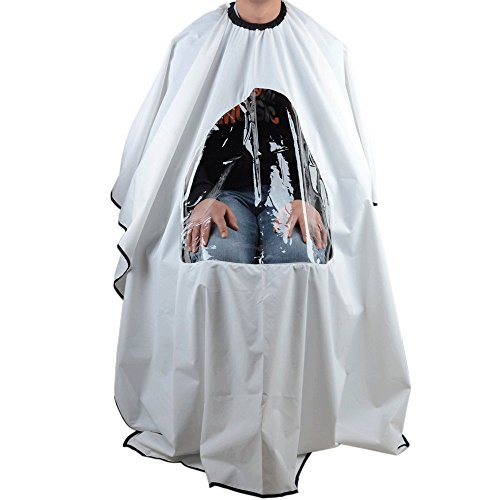 White Hair Cutting Cape Salon Hairdressing Hairdresser VIEWING WINDOW Barber Cloth from Unknown