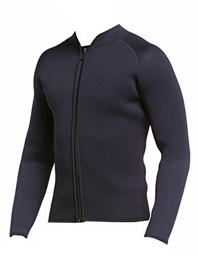 DIVE & SAIL Adult's 3mm Wetsuit Jacket Top Long Sleeve Wetsuits (Simple Black, - Wetsuit Top