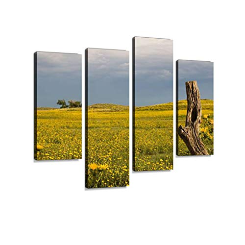 (Flower Field, Sky and Post Canvas Wall Art Hanging Paintings Modern Artwork Abstract Picture Prints Home Decoration Gift Unique Designed Framed 4)