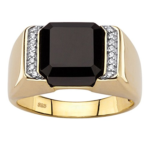 Men's Square-Cut Genuine Black Onyx and CZ Accent 18k Gold over .925 Silver Faceted Ring