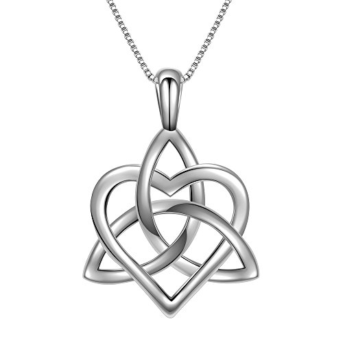 Angemiel 925 Sterling Silver Good Luck Irish Triangle Celtic Knot Heart Vintage Pendant Necklace, Box Chain (Celtic Heart Pendant)