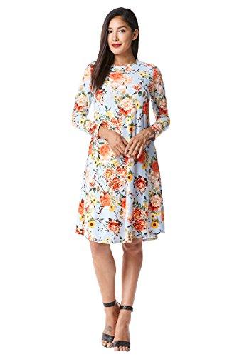 MoDDeals Women's Long Sleeve Midi Dress Solid Floral A-Line and Swing T-Shirt (Medium, Lt. (Belted Knit Dress)