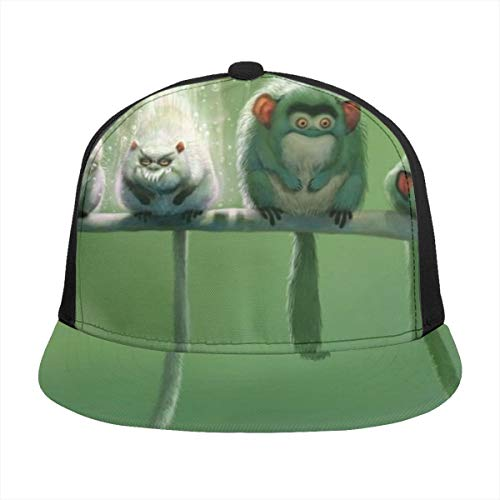 Hanging Decorations UPF 50+ Classic Men Women Unisex Soft Outdoors Baseball Vintage Cap Sports Running Adjustable Hat Monkey,Bird,Totoro,elf,Tail,Ears,Branches,Green,Forest,Cute,Animal,Painting