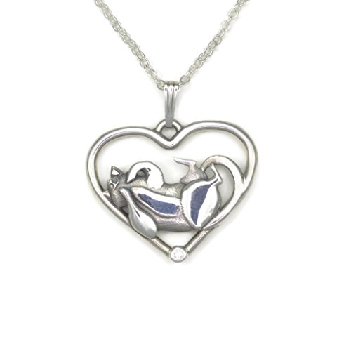 Sterling Silver Whimsical Cat (Sterling Silver Cat Pendant, Diamond Cat Necklace, Fine Cat Jewelry fr Donna Pizarro's Animal Whimsey Collection)