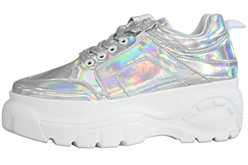 LUCKY STEP Women Chunky Platform Dad Colorblock White Neon Green Fuchsia Hologram Silver Casual Lace-Up Walking Sneakers (9 B(M) US, Hologram Silver)