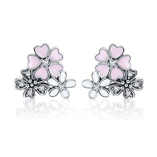 BAMOER Cherry Flower Earrings 925 Sterling Silver Pink Heart Daisy Cherry Blossoms Flower Stud Earrings for Women Girls