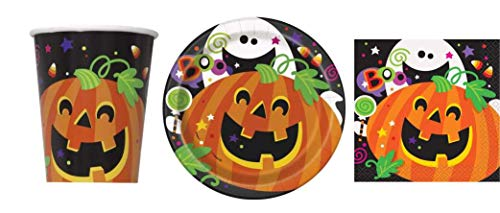 Disposable Dinnerware Set - Serves 8 - Halloween Party Supplies Spooky Design - Includes Paper Dessert Plates, Napkins, Cups (Pumpkin and Ghost) -