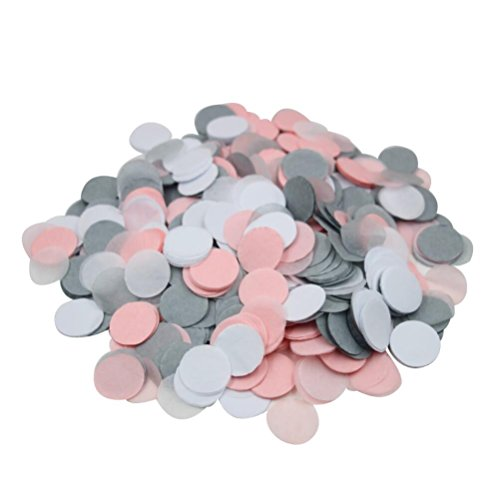 Mybbshower Pink Gray White Paper Confetti for Baby Girl Shower 5000 Pieces