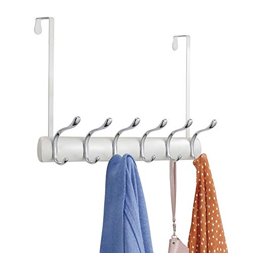 - mDesign Decorative Over Door Long Easy Reach 12 Hook Metal Storage Organizer Rack for Coats, Hoodies, Hats, Scarves, Purses, Leashes, Bath Towels & Robes - Pearl White/Chrome