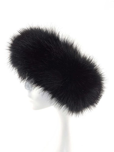 Fur Winter Faux Fox Raccoon Mink Fur Headwrap Headband Earwarmer Hat BLK