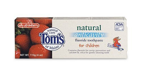 Tom's of Maine Natural Anticavity Fluoride Toothpaste for Children, Silly Strawberry, 4-Ounce - Toms Outlets