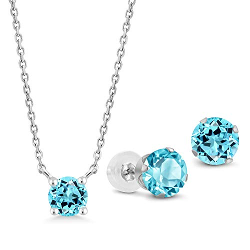 Gem Stone King 2.13 Ct Round Swiss Blue Topaz 10K White Gold Pendant Earrings - Ct Natural 2.13