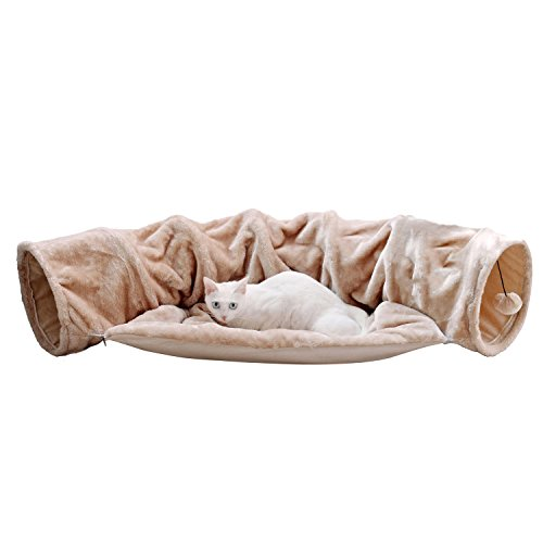 Cat Tunnel Toy and Bed 2 in 1 ,Myguru Collapsible Removable Warm Plush Bed with Scratching Ball for Puppy Kitten Kitty Crate Cage Shack House (Beige)