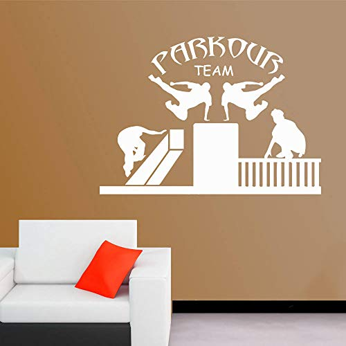 Street Sport Wall Decals Team Parkour Vinyl Sticker Free Running Wall Poster Home Decor Parkour Design Wall Art Murals AY1665 (Best Parkour And Freerunning 2019)