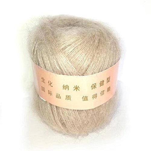 Cotton Mohair Yarn - Celine lin One Skein Soft&Warm Angola Mohair Cashmere Wool Knitting Yarn 50g,Beige