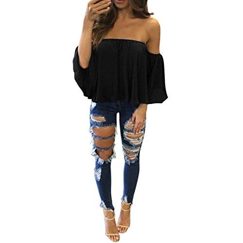 Chiffon Bandeau (Women Fashion Chiffon Blouse,Lelili Sexy Solid Off Shoulder Strapless Short Sleeve Ruffle Loose Bandeau Shirt Tops (S, Black))