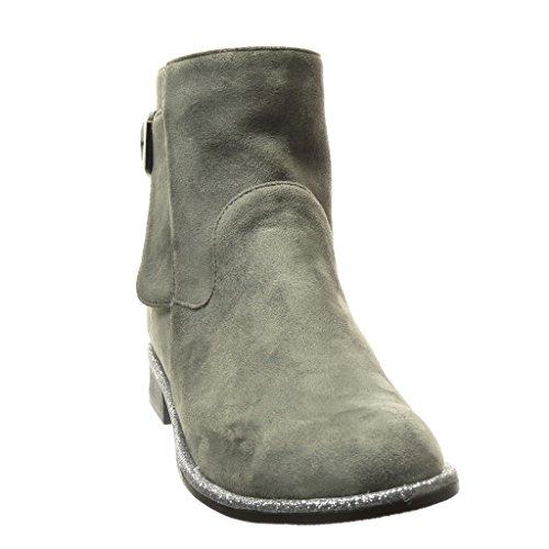 Angkorly Women's Fashion Shoes Ankle Boots - Booty - high - Glitter - Buckle Block Heel 2.5 cm Grey Bai7D6SB