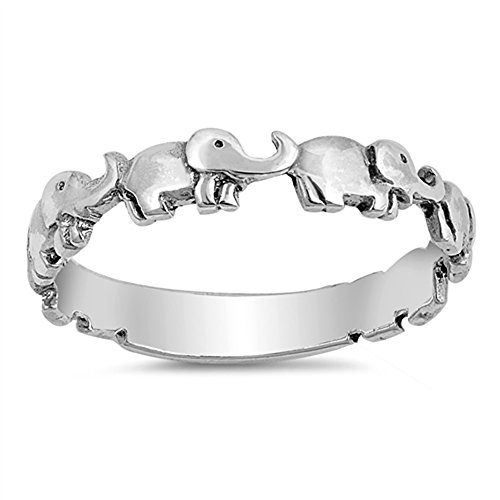 (Cute Elephant Boho Girl's Dainty Stackable Ring Sterling Silver Band Size 10)