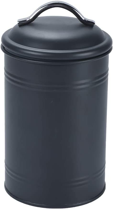 Schonee Airtight Kitchen Canister with Lid, Rustic Farmhouse Decor Container for Dry Food Sugar Coffee Tea, Charcoal Gray Metal Countertop Storage Jar (7.87'' H x 4.3'' Dia.)