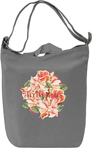 Hibiscus Borsa Giornaliera Canvas Canvas Day Bag| 100% Premium Cotton Canvas| DTG Printing|