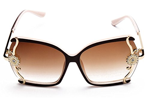 GAMT Oversized Square Sunglasses for Women with Metal Flower Designer Style Beige - 70s Style Glasses Prescription
