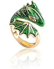 Adjustable Open Dragon Rings for Women Men, 2021 Lucky Finger Pet Ring Jewelry Knight Dragon Triceratops Open Ring Vintage Cute Cocktail Party Animal Finger Ring Free-Size Open Band