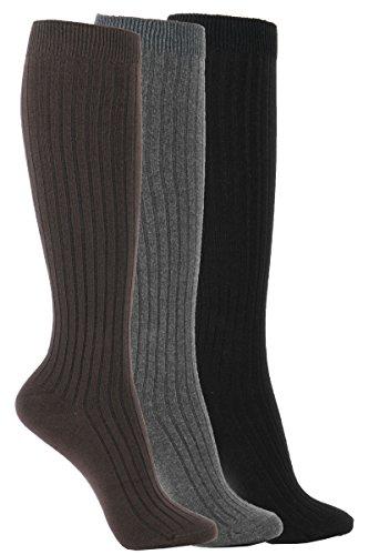 (WOWFOOT Women's Knee High Socks Luxury Cotton For Girl Stylish Design Fun (C-Ribbed Type - 3pair) One Size,( grey, brown, black socks)