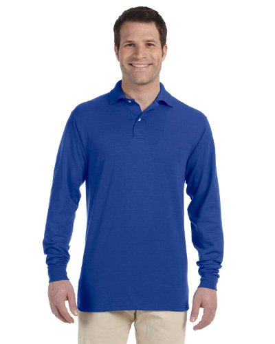 (Jerzees 5.6 oz 50/50 Long Sleeve Jersey Polo Shirt with SpotShield 437ML blue X-Large)