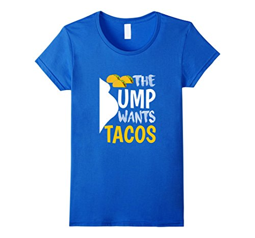 [Women's Funny Bump Want Tacos T-shirt Pregnant Food New Baby Gift Large Royal Blue] (Mother And Infant Daughter Costumes)