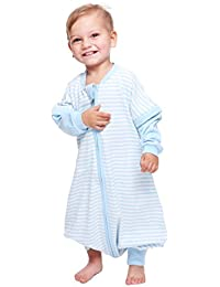 Baby Boys and Girls Detachable Sleeves 0.5 Tog Cotton Sleeping Sack for Early Walker, (Blue,M)