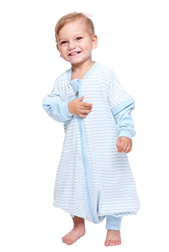 LETTAS Baby Boys and Girls Detachable Sleeves 0.5 Tog Cotton Sleeping Sack for Big Kids, (Blue,XL) by LETTAS