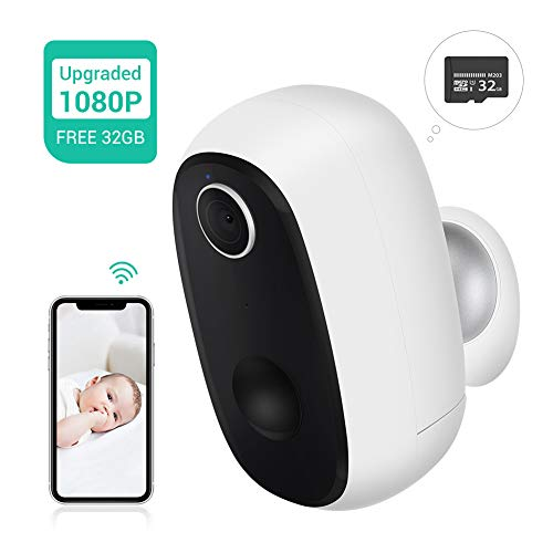 Upgraded – 32GB Preinstalled Battery Powered Wireless Camera, Enow-YL HD 1080P Wire-Free 2.4G WiFi Rechargeable Battery Outdoor IP Security Camera with PIR Motion Sensor, 2 Way Audio, Night Vision