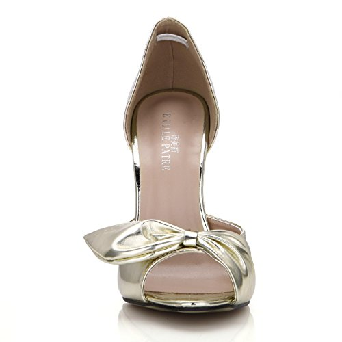Ruffled 12cm Shoes Mirror Bow Heels Women's Sandals Summer Sole Rubber Basic 4u Golden Silver Gold Pumps High Best Pu Zipper fqgzw