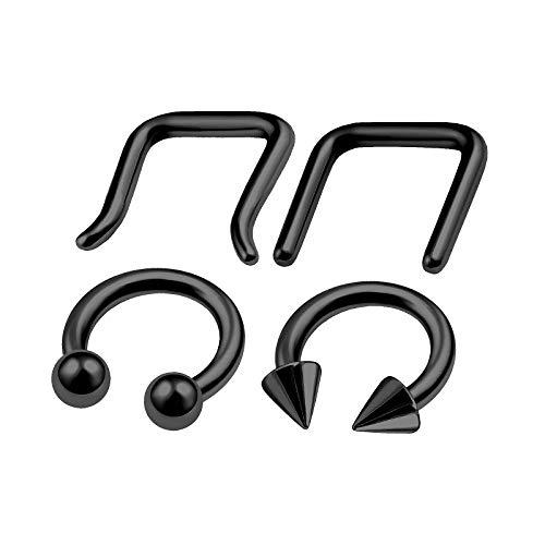 4Pcs Black Anodized Steel 14g 5/16 8mm Hoop Septum Ring Horseshoe Piercing Jewelry Lip Tragus Rook Labret 4mm Ball Cone M6126