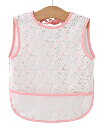 F&C Toddler Baby Apron Waterproof Sleeveless Bib with Pocket (Flower, M(Height:85-105CM))