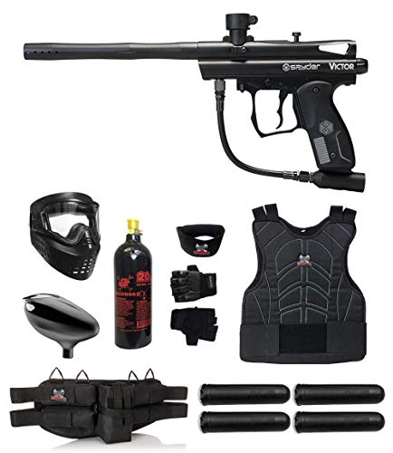 Kingman Spyder Victor Starter Protective CO2 Paintball Gun Package - Black