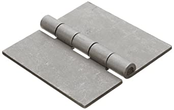 """Steel Surface Mount Butt Hinge without Hole, Unplated Finish, 0.130"""" Leaf Thickness, 3-29/32"""" Open Width, 17/64"""" Pin Diameter, 4"""" Long, Removable Pin (Pack of 1)"""