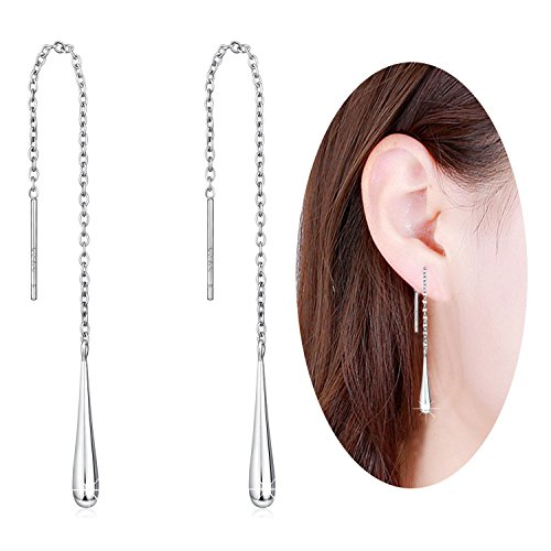 - Long Chain Threader Teardrop Linear 925 Sterling Silver Drop Dangle Earrings, Light Weight Chain is Dainty and not too long Easy to Wear, Very Dainty and Comfortable,Suitable for all Women and Girls