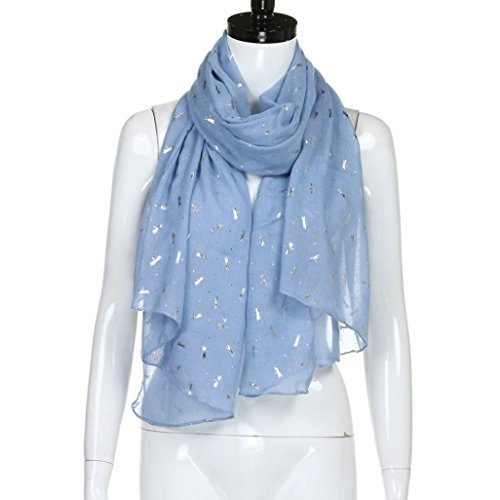 Plaid Dragonfly - Staron Women Stole Scarf Wrap Gold Foil Dragonfly Print Shawl Pashmina Scarves (Blue)
