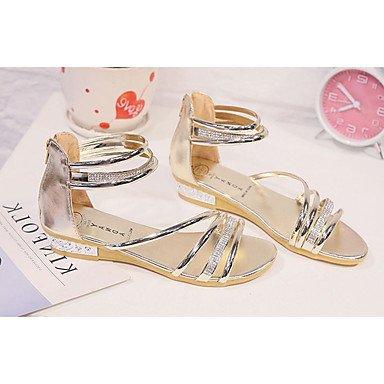 LvYuan Mujer-Tacón Plano-Confort-Sandalias-Exterior-PU-Negro Plata Oro Gold