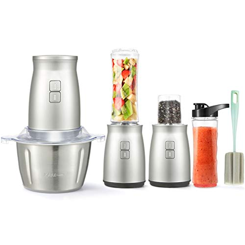 Food Processor, 3 in 1 Set Electric Food Processor 7 PCS Food Chopper Personal Blender 2L Stainless Steel Kitchen Electric Meat Grinder with 2 Speed and 4 Bi-Level Blades for Meat, Vegetables, Fruits and Nuts