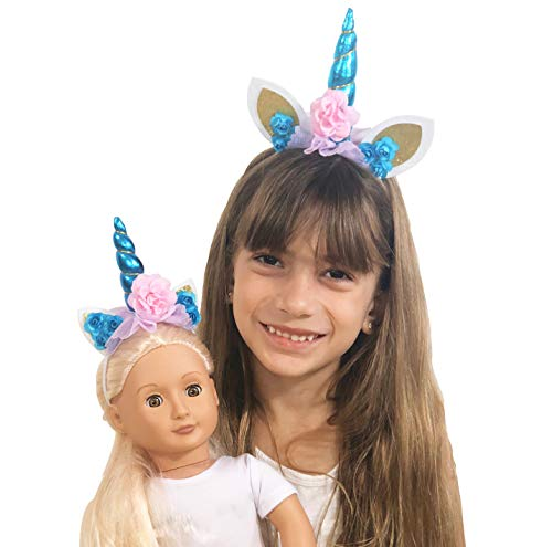My Genius Dolls Unicorn Horn Headband - Accessories fits All 18 inch Dolls Such as American Girl Our Generation My Life Adora Gotz | Matching Clothes Outfit for Girls and Doll - 2 Piece Set ()