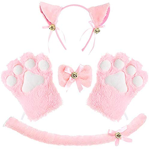 Costume Cat Cosplay Set Ears Tail Collar Paws Gloves Set (Pink) ()